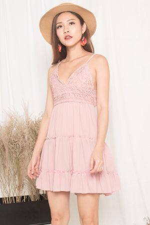 (BO) Verila Crochet Ribbon Back Dress in Pink