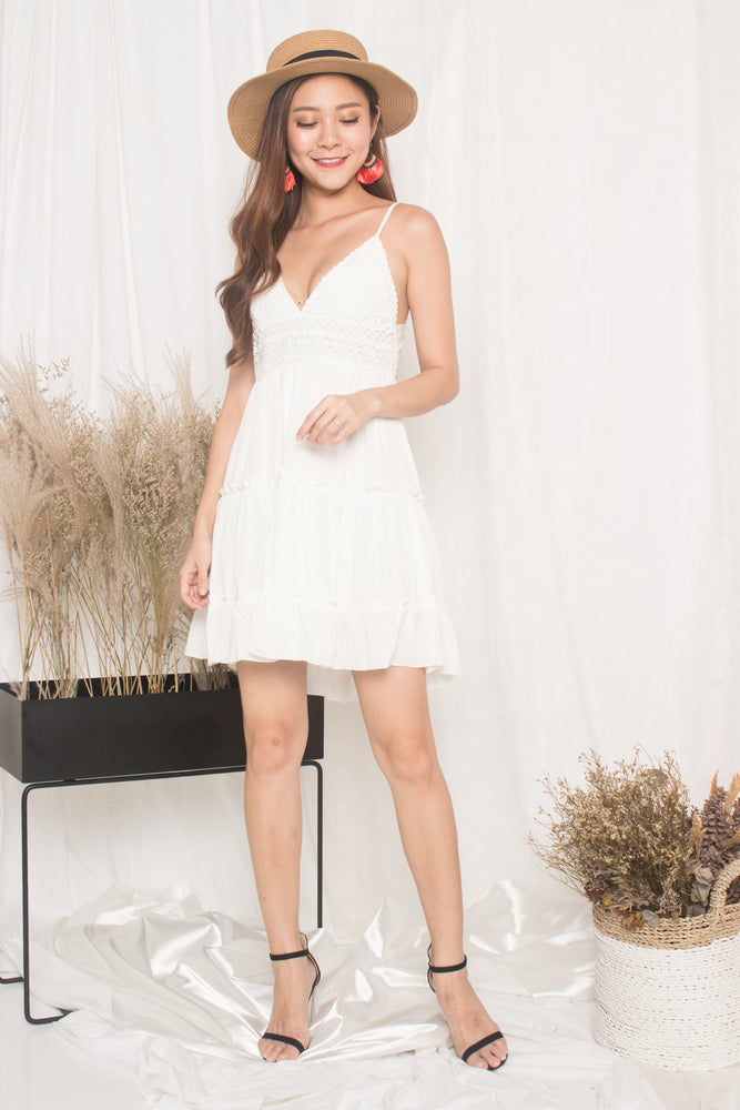 Load image into Gallery viewer, Verila Crochet Ribbon Back Dress in White