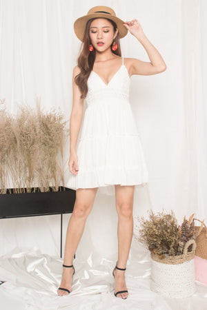 Verila Crochet Ribbon Back Dress in White