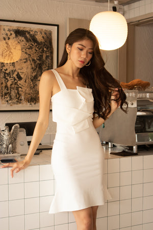 Load image into Gallery viewer, *PREMIUM* - Sorelia Wrapped Mermaid Dress in White - Self Manufactured by LBRLABEL