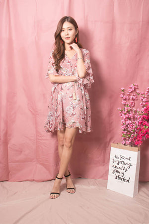 Adelina Floral Dress in Blush