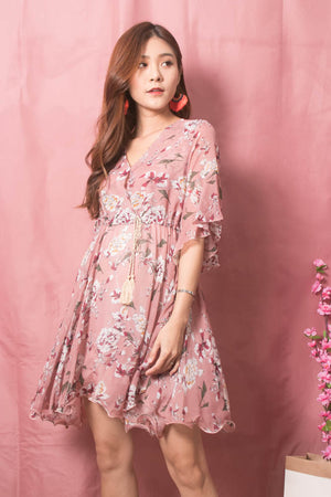 Load image into Gallery viewer, Adelina Floral Dress in Blush
