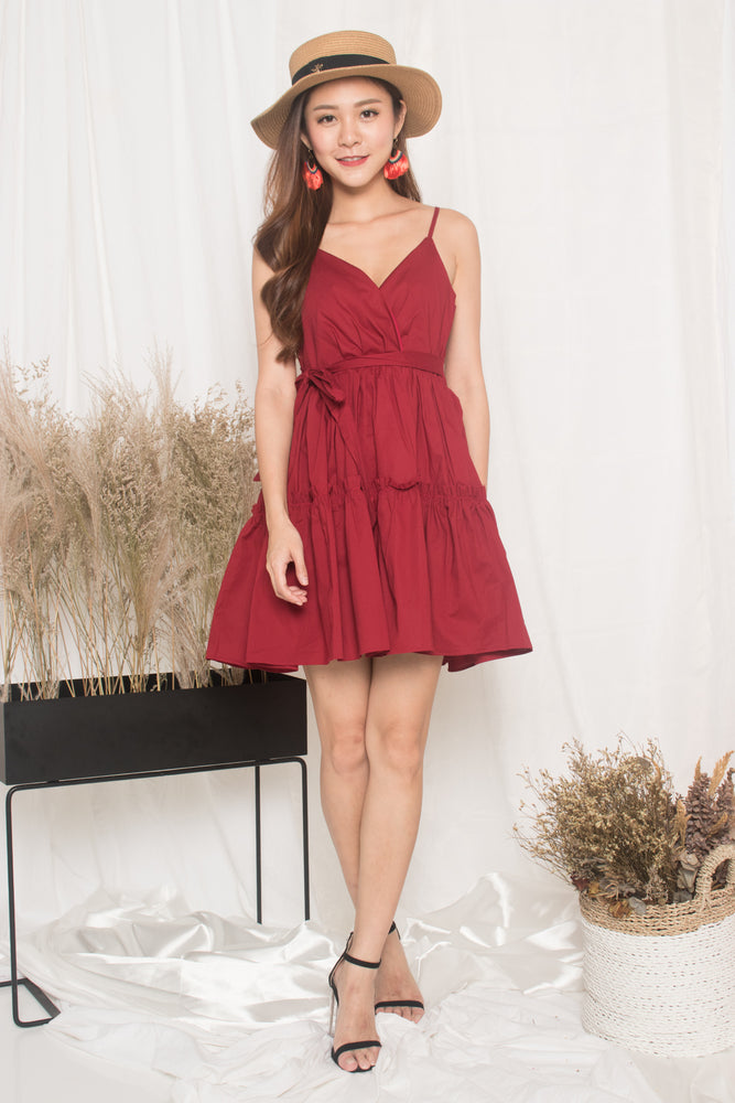 Load image into Gallery viewer, Oksar Layer Dress in Burgundy Red
