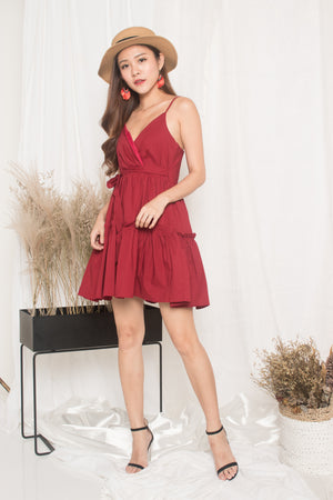 Oksar Layer Dress in Burgundy Red