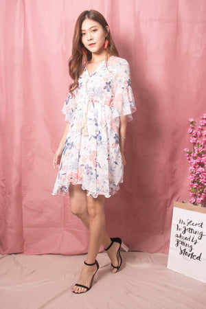 Adelina Floral Dress in White