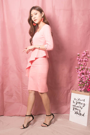 * LUXE * Trinity Corporate Peplum Dress in Pink