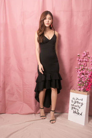 * LUXE * Rosalie Fishtail Dress in Black