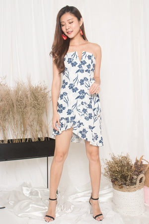 Ashley Bustier Floral Dress in White