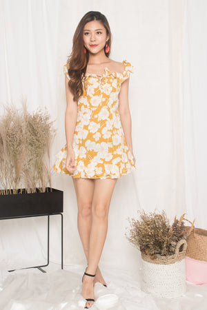 Calista Floral Flutter Dress in Yellow