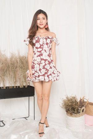 Calista Floral Flutter Dress in Red
