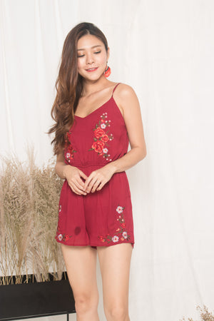 Jeusa Embroided Romper in Burgundy