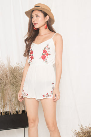 Jeusa Embroided Romper in White