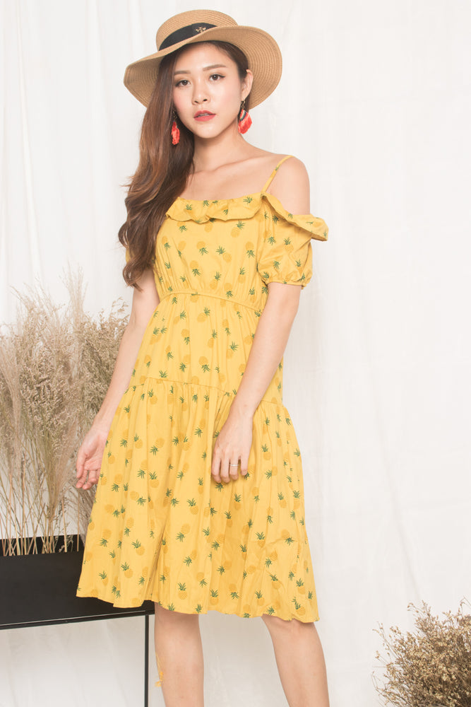 Sabre Toga Pineapple Dress in Yellow