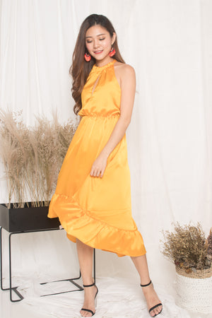 *LUXE* - Kerina Assymetrical Dress in Marigold Velvet