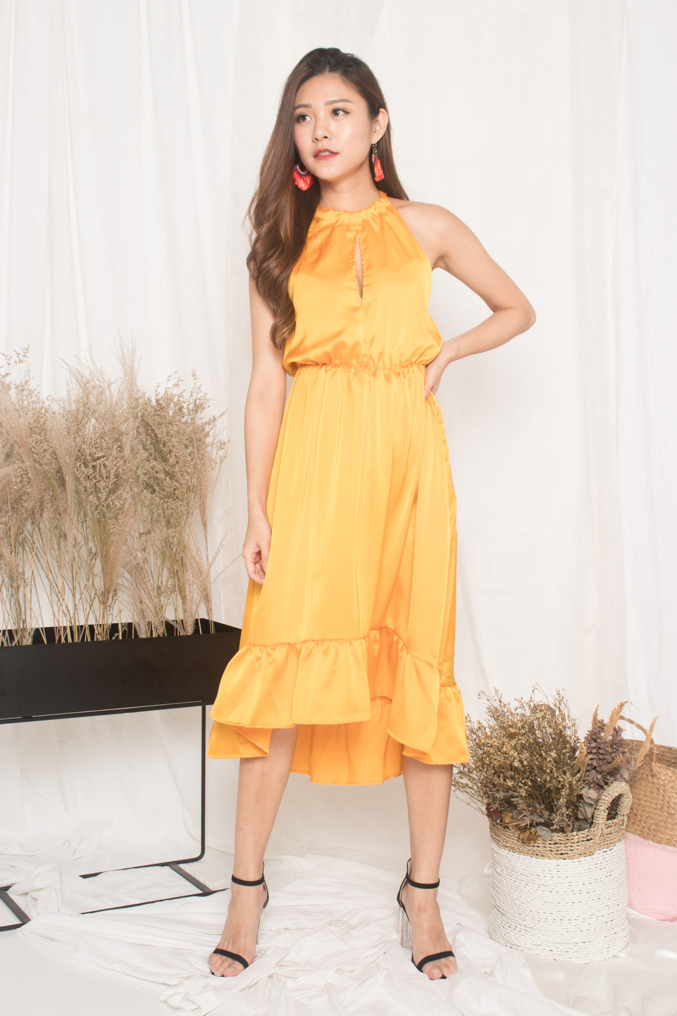 960c28f45f *LUXE* - Kerina Assymetrical Dress in Marigold Velvet - LBRLABEL
