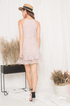 Angeleia Crochet Dress in Pink