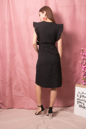 Maire Flutter Dress in Black