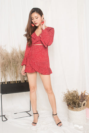 Felicity Polkadot Dress in Red