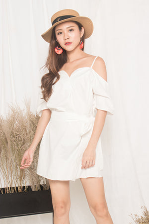 Darcey Off Shoulder Dress in White