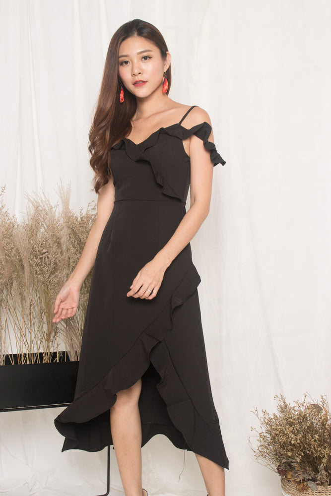 Load image into Gallery viewer, *LUXE* - Queenlyn Flutter Dress in Black