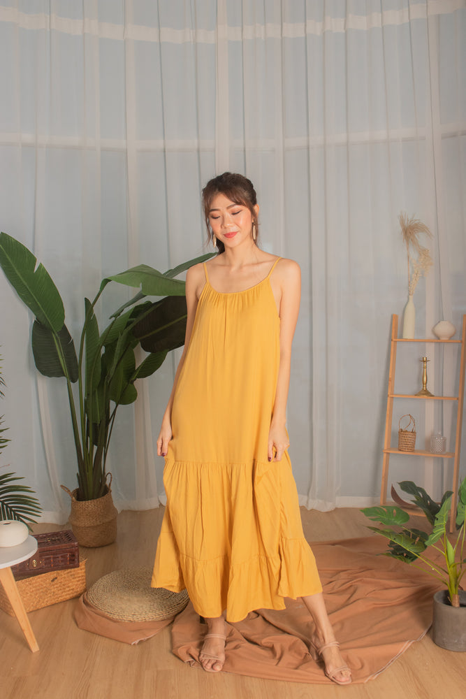 * PREMIUM * - Ayeslia Drop Hem Maxi Dress in Mustard - Self Manufactured by LBRLABEL