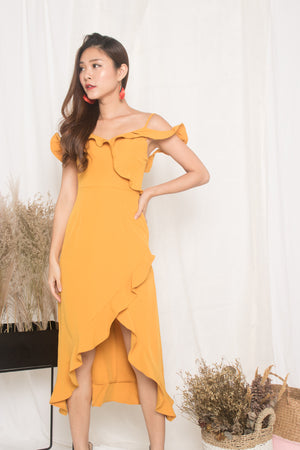 *LUXE* - Queenlyn Flutter Dress in Marigold