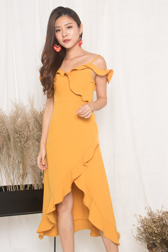 Load image into Gallery viewer, *LUXE* - Queenlyn Flutter Dress in Marigold