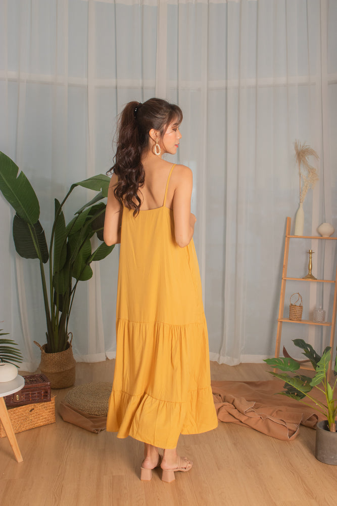 Load image into Gallery viewer, * PREMIUM * - Ayeslia Drop Hem Maxi Dress in Mustard - Self Manufactured by LBRLABEL