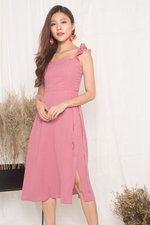 Thealyn Flutter Slit Dress in Pink