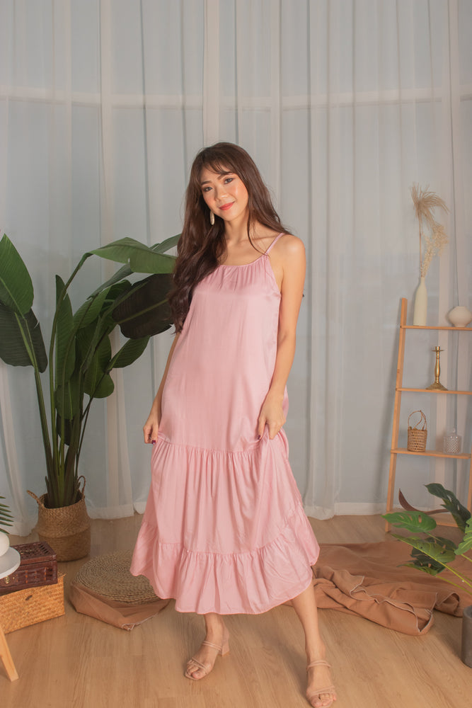 * PREMIUM * - Ayeslia Drop Hem Maxi Dress in Pink - Self Manufactured by LBRLABEL