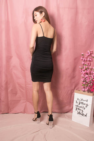 Load image into Gallery viewer, Keliea Midi Bodycon Dress in Black