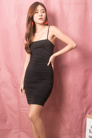 Keliea Midi Bodycon Dress in Black