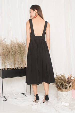 Maisie Low Back Dress in Black