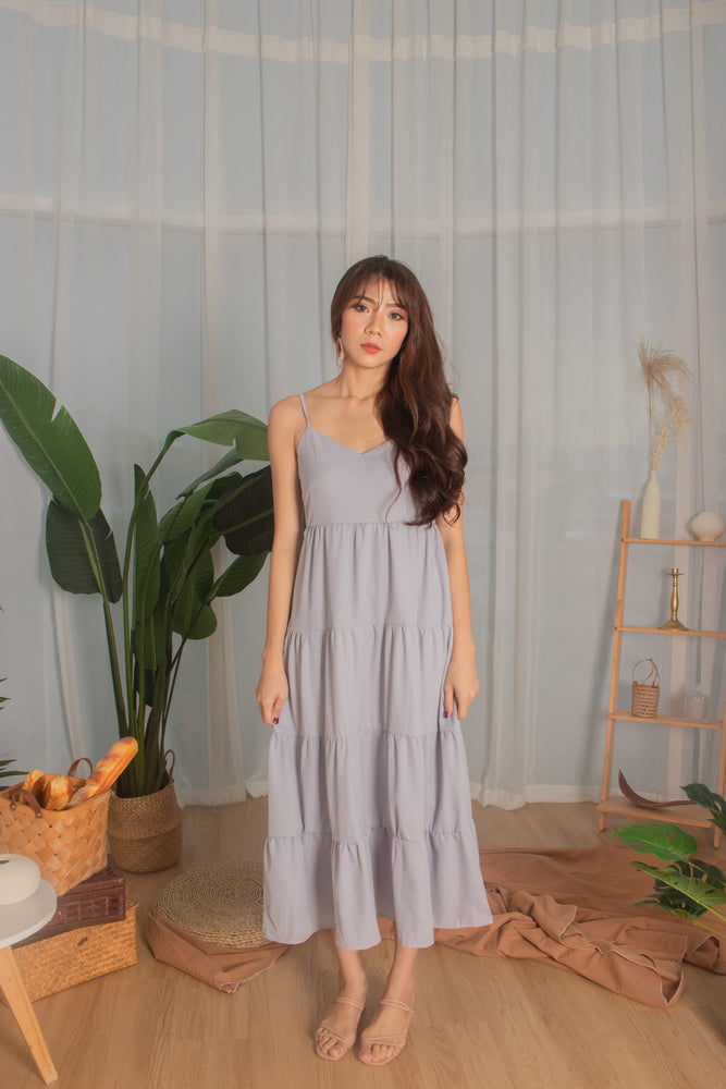 *PREMIUM* - Joeylia Tiered Maxi Dress in Grey - Self Manufactured by LBRLABEL