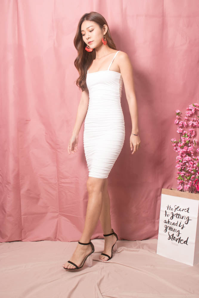 Load image into Gallery viewer, Keliea Midi Bodycon Dress in White