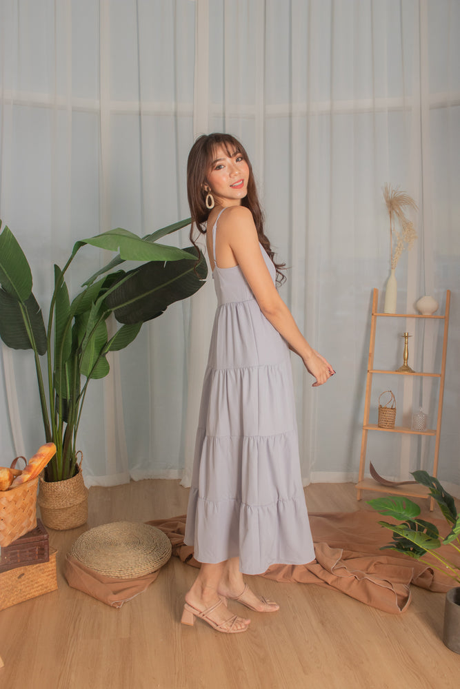 Load image into Gallery viewer, *PREMIUM* - Joeylia Tiered Maxi Dress in Grey - Self Manufactured by LBRLABEL