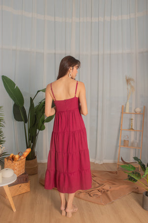 Load image into Gallery viewer, *PREMIUM* - Joeylia Tiered Maxi Dress in Dark Magenta Red- Self Manufactured by LBRLABEL