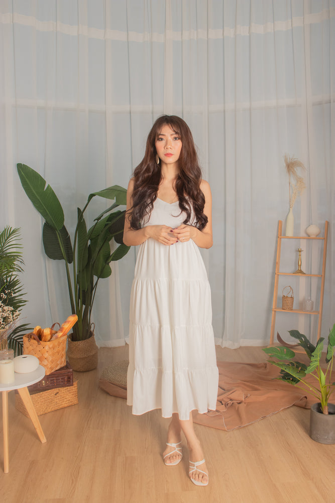 *PREMIUM* - Joeylia Tiered Maxi Dress in White - Self Manufactured by LBRLABEL