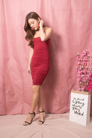 Keliea Midi Bodycon Dress in Burgundy