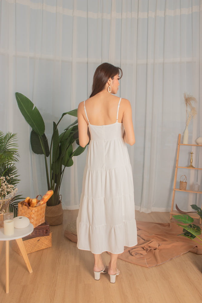Load image into Gallery viewer, *PREMIUM* - Joeylia Tiered Maxi Dress in White - Self Manufactured by LBRLABEL