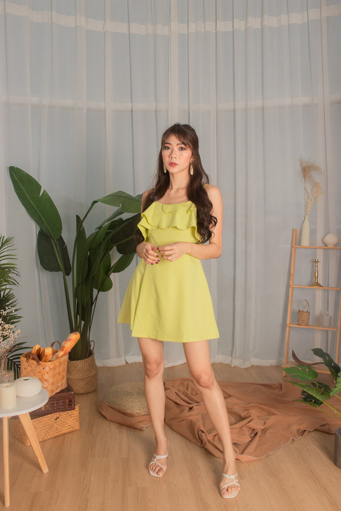 *PREMIUM* - Cealia Flutter Dress Romper in Sunny Lime - Self Manufactured by LBRLABEL