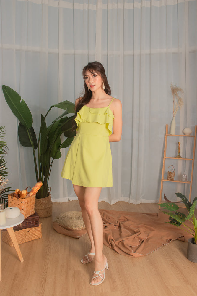 Load image into Gallery viewer, *PREMIUM* - Cealia Flutter Dress Romper in Sunny Lime - Self Manufactured by LBRLABEL
