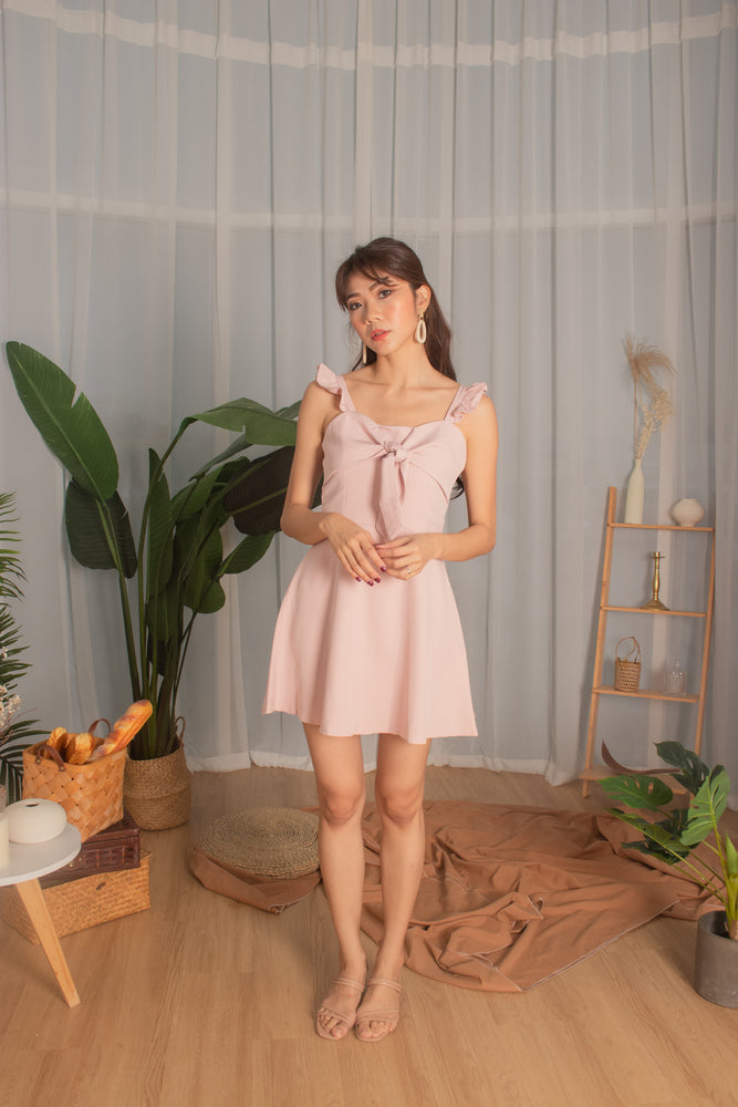 *PREMIUM* Kaylia Ribbon Dress Romper in Daisy Pink - Self Manufactured by LBRLABEL