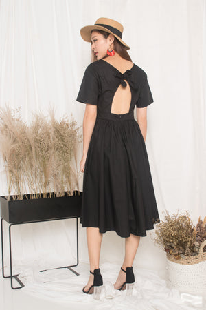 Samrissa Open Back Midi Dress in Black