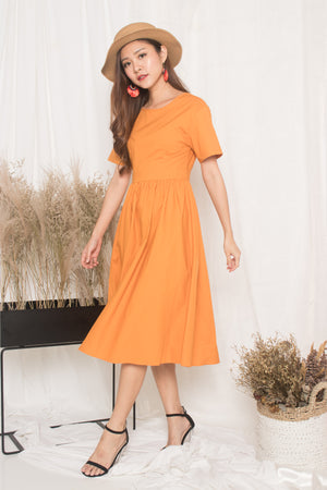 Samrissa Open Back Midi Dress in Orange