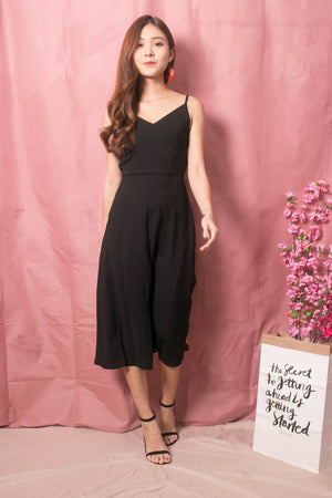 Veron Ribbon Back Midi Dress in Black