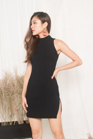 Sweeny Bodycon Halter Dress in Black