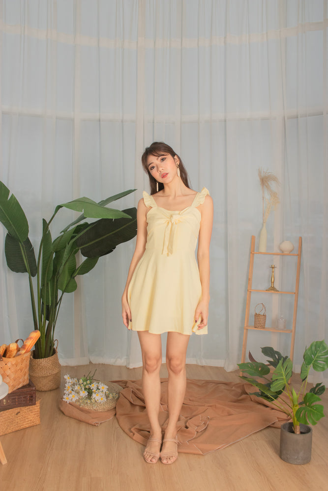 * PREMIUM * - Kaylia Ribbon Dress Romper in Buttermilk - Self Manufactured by LBRLABEL