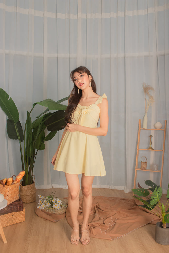 Load image into Gallery viewer, * PREMIUM * - Kaylia Ribbon Dress Romper in Buttermilk - Self Manufactured by LBRLABEL