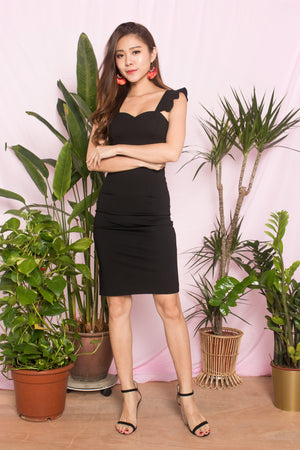 *PREMIUM* - CLARALIA FLUTTER MIDI DRESS IN BLACK - LBRLABEL SELF MANUFACTURED
